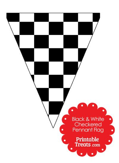 Black and White Checkered Pennant Banner Flag from PrintableTreats.com