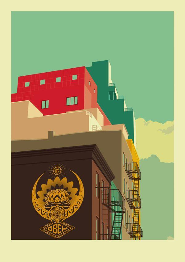 Remko Heemskerks kleurrijke illustraties van de architectuur van New York