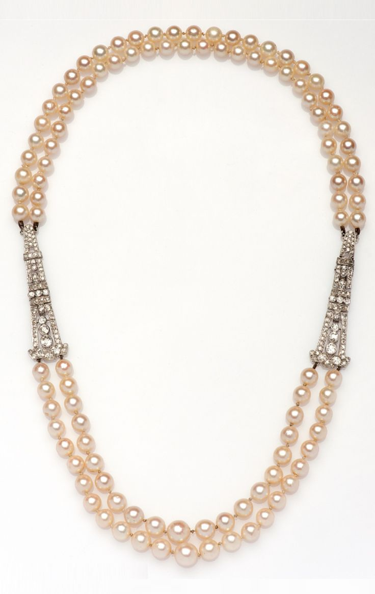 An Art Deco Cultured Pearl Necklace With Platinum And Diamond Links, Circa  1920 #