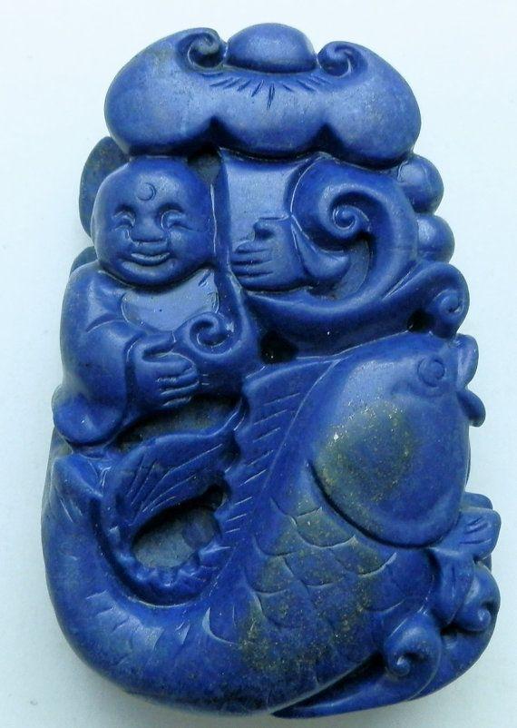 Lapis Lazuli carving. Chinese.