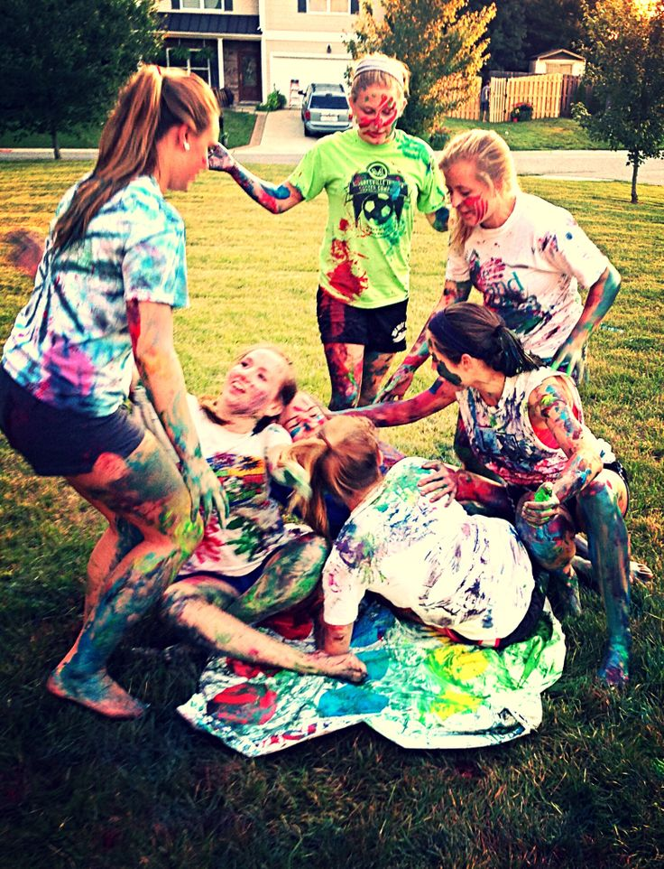 Messy twister party maybe at night use glow in the dark paint