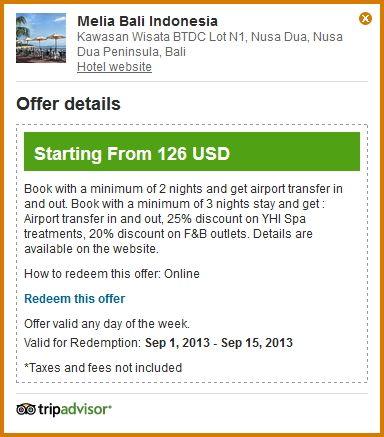 Special Offer on Tripadvisor. Check it out! http://www.tripadvisor.com/Hotel_Review-g297698-d302653-Reviews-Melia_Bali_Indonesia-Nusa_Dua_Nusa_Dua_Peninsula_Bali.html For a limited time only.