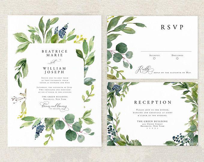 Eucalyptus Wedding Invitation Watercolor Wedding Invitation