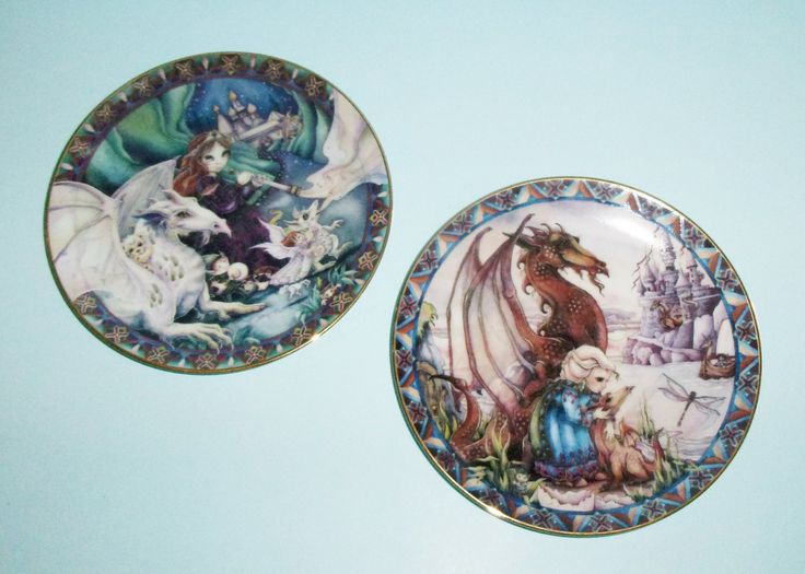 Jody+Bergsma+Castles+and+Dreams+Plates+Birth+of+a+Dream+and+Follow+Your+Dreams+1990s+Dragon+Plates