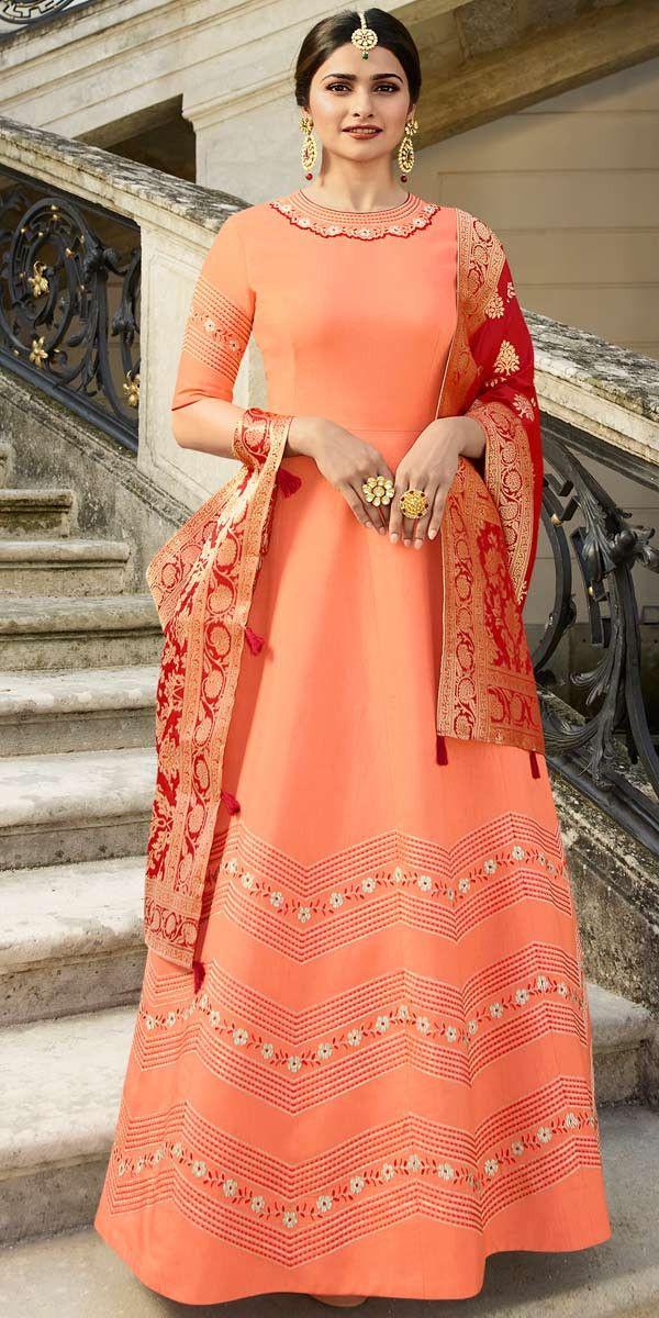 d174b12472 Ready Made Prachi Desai Dark Peach Art Silk Anarkali Suit ...