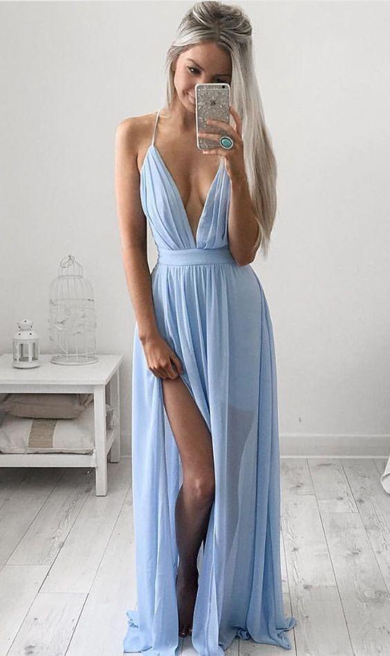 Vestido azul celeste, boho chique
