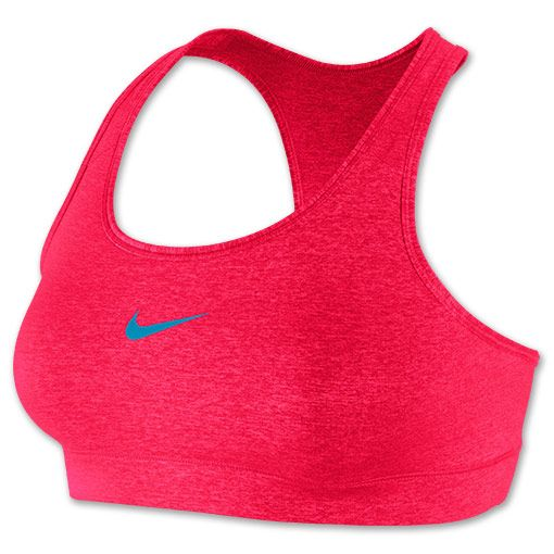 Women's Nike Pro Victory Compression Sports Bra | FinishLine.com | Legion Red Heather/Vivid Blue
