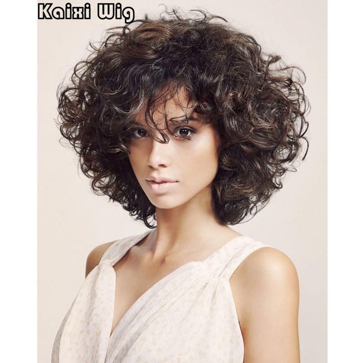 Brevi Parrucche Ricce Per Il Nero/Bianco Donne Miglior Parrucca Sintetica Africano Parrucche Brevi Americano Tagli di Capelli Corti Per Le Donne Ricce Parrucca marrone