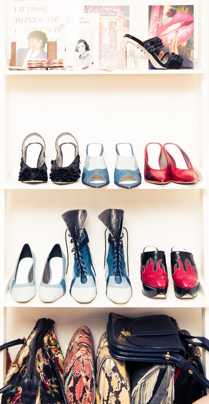 Inside Accessories Designer Amélie Pichard's Closet: Open Toe High Heels, Blue, Red, Black, Flamed, and Lace Up Heels by Various Designers, Snakeskin Bags, other Bags by Various Designers | coveteur.com
