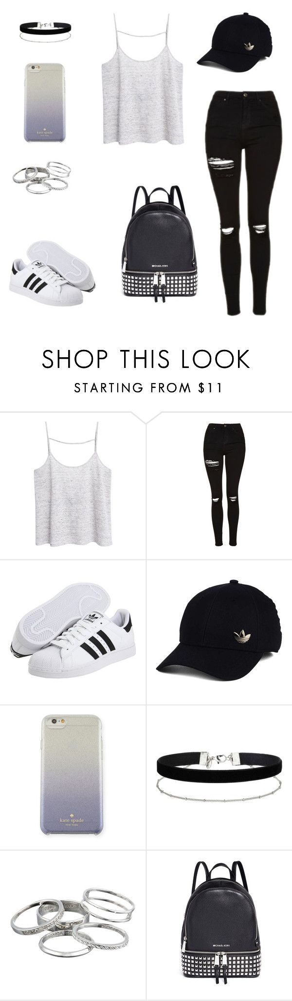 """Something with Adidas"" by nerdvines on Polyvore featuring MANGO, Topshop, adidas Originals, adidas, Kate Spade, Miss Selfridge, Kendra Scott and Michael Kors"