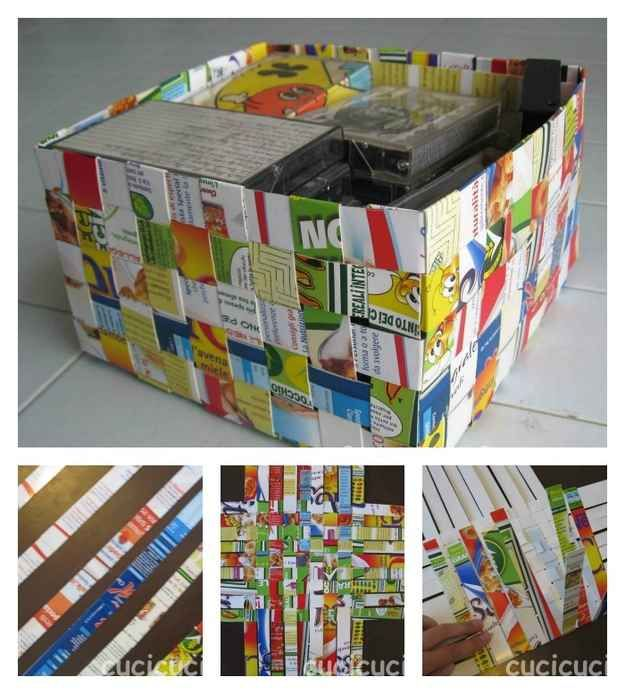 Basket | 31 Things You Can Make Out Of Cereal Boxes- how FUN to learn basket weaving for CM handicrafts!!!!!