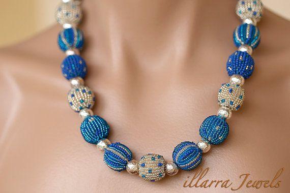 Blue and White Glass Beaded Jabulani Bead by illarraJewels on Etsy
