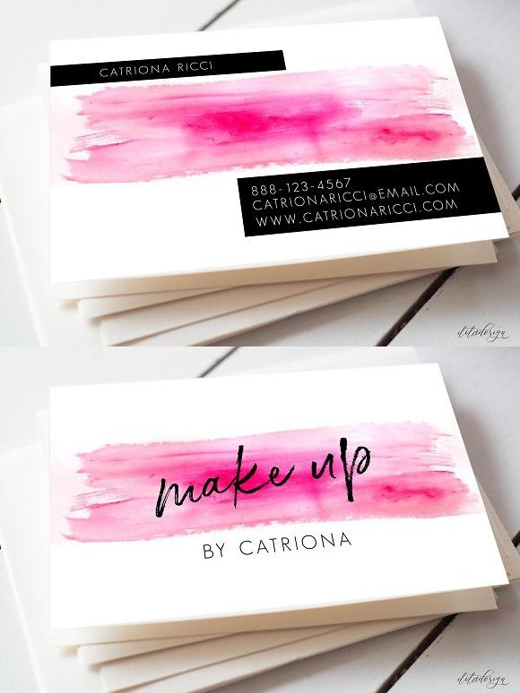 Watercolour Make Up Business Card Makeup Artist Business Cards Design Makeup Business Cards Business Cards Creative Templates