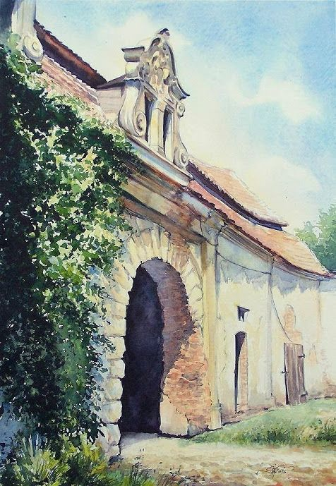 Edyta Nadolska Watercolor Art - 'A picturesque history'. A piece of historical farm buildings of the palace complex in Goszcz, Lower Silesia, Poland. Painted in 2015.