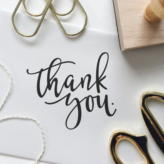Modern Calligraphy Thank You Stamp by FrouStudio on Etsy More