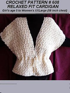 Cardigan Sweater Crochet Pattern - all sizes from age 5 to women's chest 58 inches, num. 608