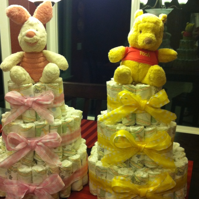 Diaper Cakes For A Baby Shower! Disney Themed!
