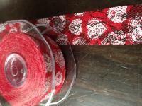Kant rood met witte hartjes 38 mm x 15 meter - Kimya verpakkingen