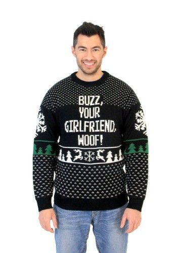 This Home Alone Buzz Your Girlfriend Woof Ugly Christmas Sweater is perfect for fans of Home Alone. Take holiday pictures while your snuggled in this cozy sweater.