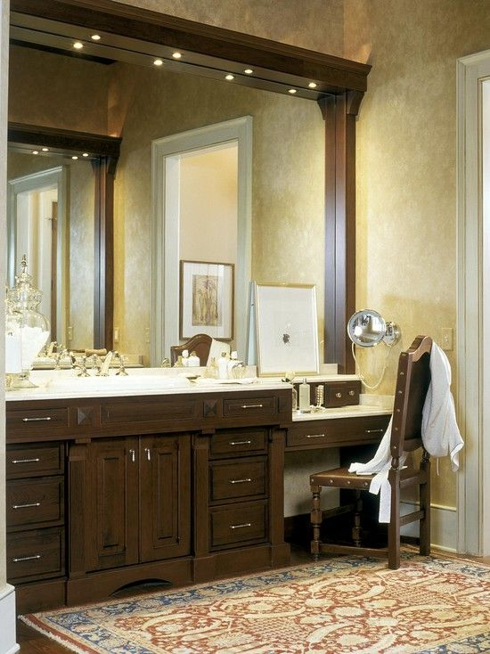 Bathroom Vanity With Drsing Table On Side Can Put Mirror Wall Still Have Two Sinks Ideas In 2018 Pinterest Master And