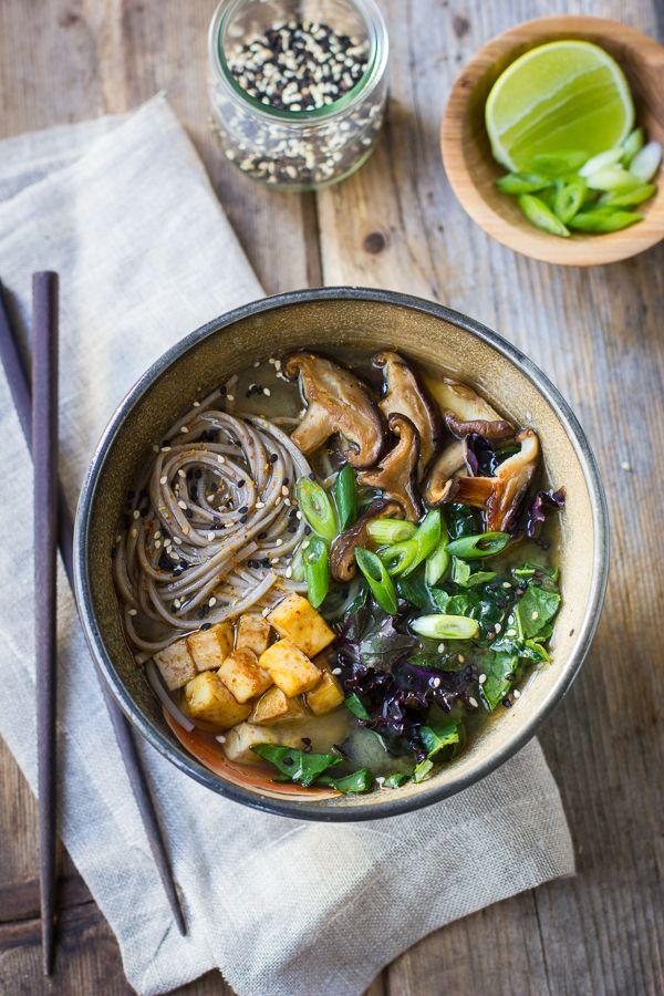miso and soba noodle salad with roasted sriracha tofu and shitake mushrooms