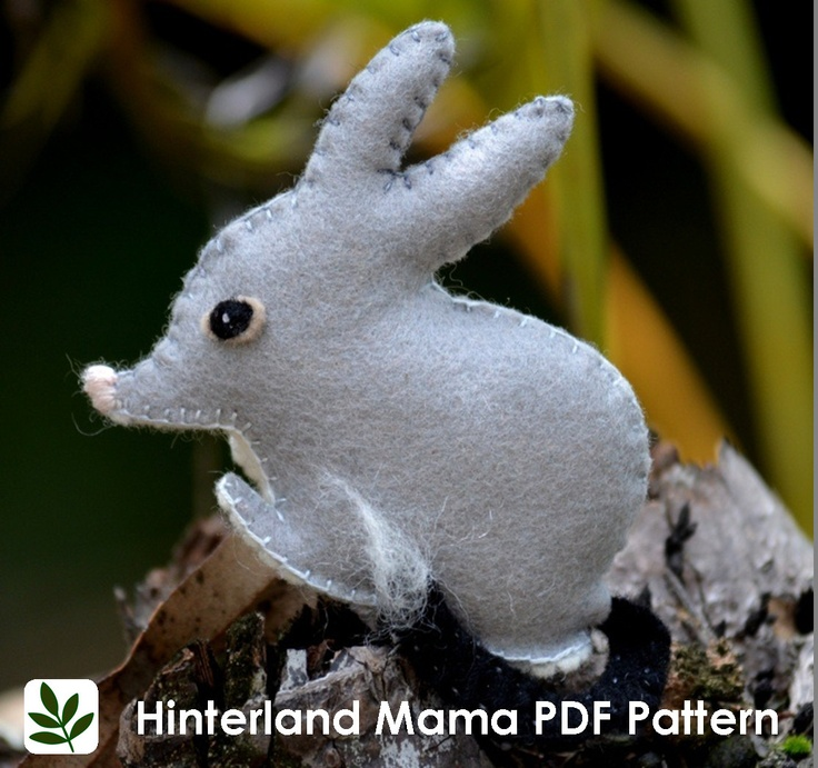 Easter Bilby Craft Pattern ~ PDF Australian Bilby Felt Pattern with template and instructions - Easter Craft. $7.40, via Etsy.