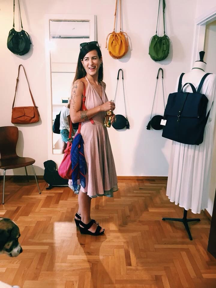 The beautiful Πριγκιπώ designer Kalomira spotted in our showroom with her Jo in Coral from our SS'14 Collection