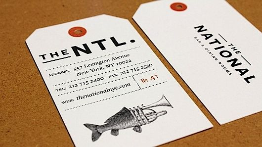 Card.The National, Dining Room, Business Cards, Brand Identity, Hanging Tags, Brand Design, Graphics Design, Swings Tags, Restaurants Brand