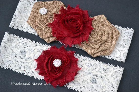 DARK RED Bridal Garter Set - Keepsake & Toss Garters - Burlap Chiffon Flower Pearl Lace Garters - Autumn Rustic Country Wedding Ivory