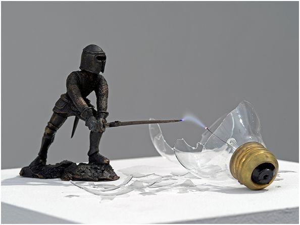 MICHEL de BROIN – Overpower, 2013 cast bronze, light bulb, electricity, transformer, circuit, sensor plinth: 48 x 9.8 x 9.8 in / 122 x 25 x 25 cm plexiglas cover: 7 x 9.8 x 9.8 in / 18x25x25 cm Edition 1 of 3