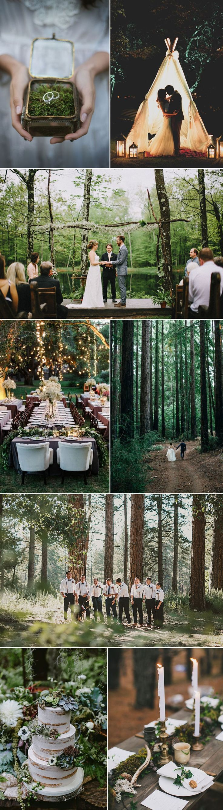 "Celebrate the splendors of the outdoors with a wildly chic Forest Wedding. The rustic charms of an outdoor setting are undeniable. If you envision saying ""I Do"" with a backdrop of redwood trees and mountain lakes, a forest venue is perfect for you. Start here for inspiration: https://www.bows-n-ties.com/mens-fashion-tips/wedding-inspiration-for-forest-weddings/"