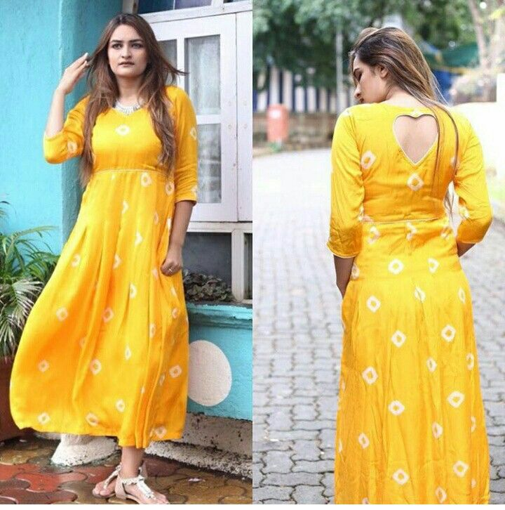 Yellow Bandhej Maxi.Mumbai based..Delivery all over India and outside India.For details and bookings pls contact on 7400497020.FB Link - https://www.facebook.com/Miar-Designs-1039717622785710/
