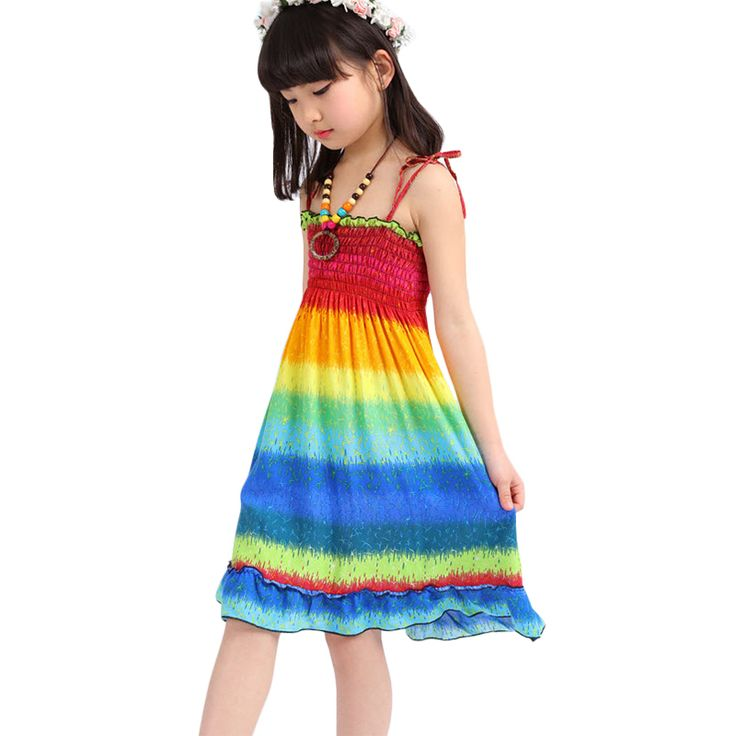 >> Click to Buy << Kids Girls Summer Dress Bohemia Beach Floral Print Dresses Rainbow Harness Vestidos 2017 New Casual Frocks For 3-8Y GD120 #Affiliate