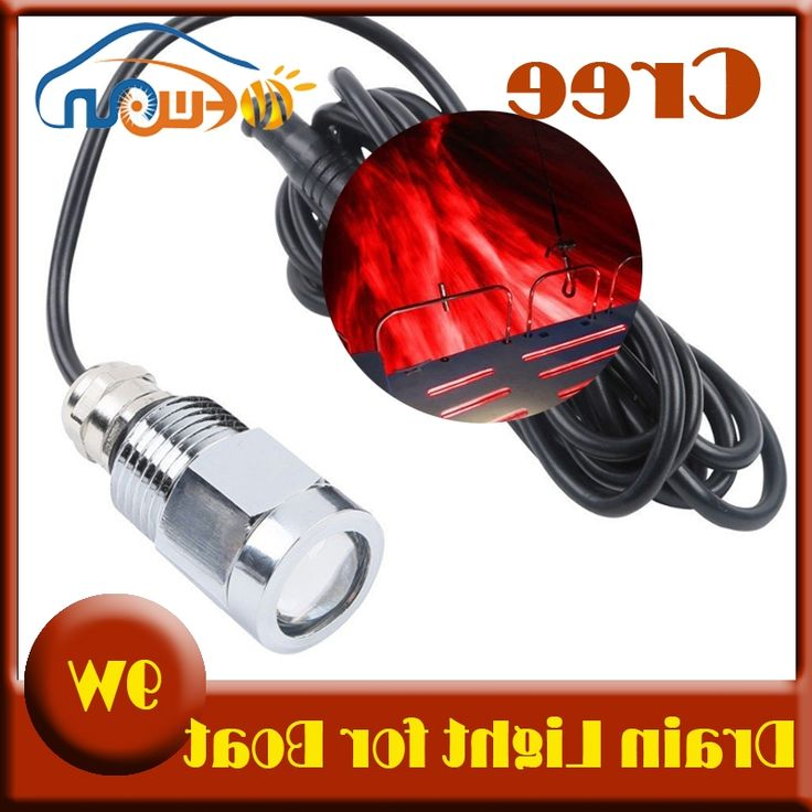 44.09$  Buy here - http://alitai.worldwells.pw/go.php?t=32292104979 - High quality 1x9W LED Drain Plug Light IP68 Underwater Marine Yacht Boat Transom drain plug red led Light free shipping