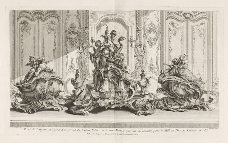 Eighteenth-century meal services were elaborate affairs, as exemplified in this print showing tureens and a table center piece designed by Juste-Aurèle Meissonnier for Evelyn Pierrepont, Duke of Ki...