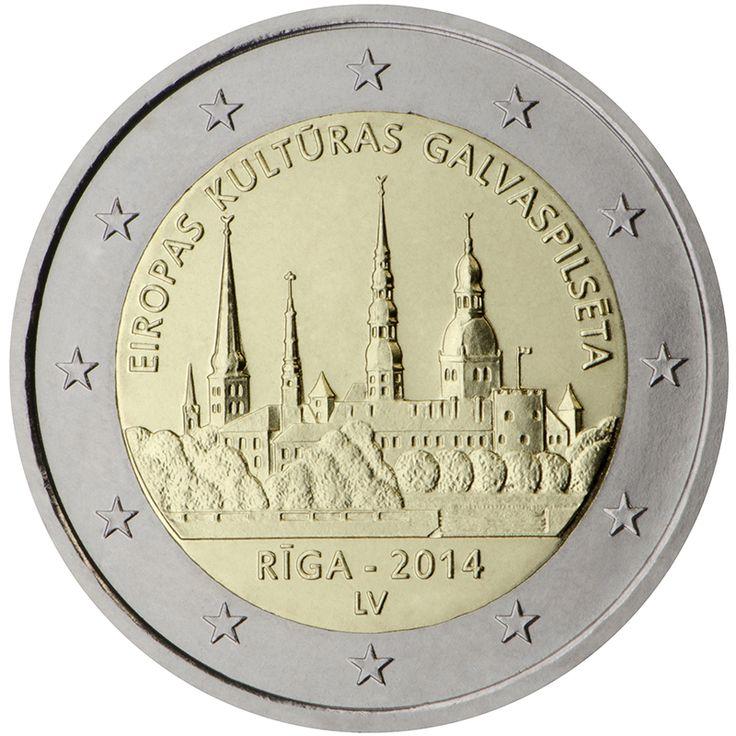 Riga, capitale europea della cultura. Nella parte centrale della moneta sono raffigurati un panorama del centro storico di Riga, inclusa nell'elenco dei siti dichiarati patrimonio mondiale dell'UNESCO.