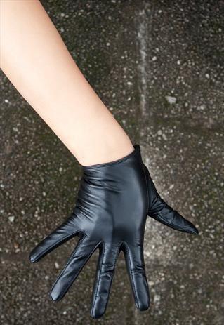 Black Leather Gloves Slim Fit
