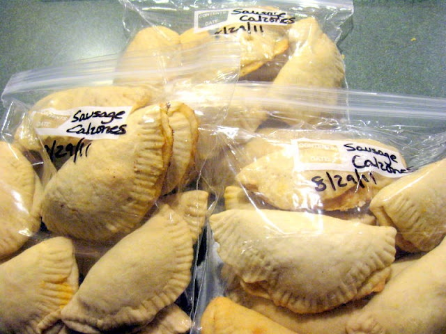 Freezer calzones - fill, bake halfway, freeze. Then bake when you want them.