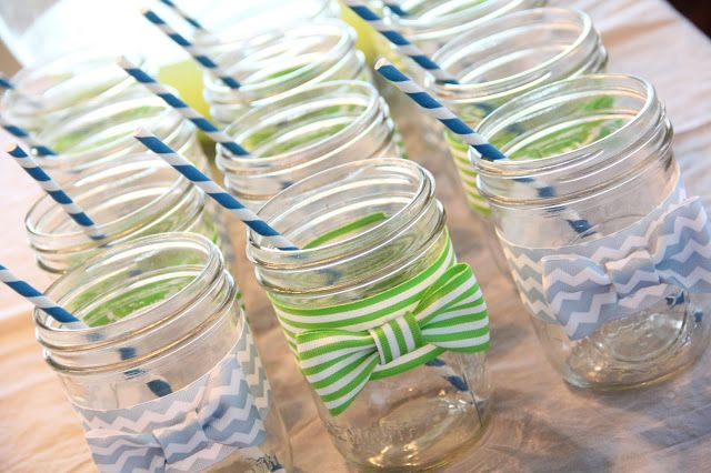 Mason Jars with Bow Ties for a Little Man Baby Shower Drink and Decor Idea