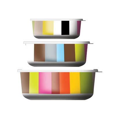 These are much nicer than that Crapperware I've been using!  Melamine food storage containers - so many nice designs, too.  I think I'll have to toss out that Rubbermaid ugliness.