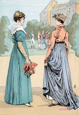 1804  The Delights of the Malmaison. A saunter through the park.   Two women in the gardens of Malmaison, château refurbished by Napoleon's first wife, Josephine, several miles outside Paris.  From: Illustrations by François Courboin from Octave Uzanne's Les Modes de Paris.  (PD-Art)  suzilove.com