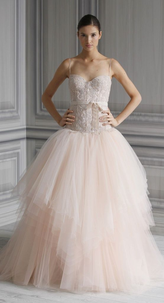 Monique lhuillier blush pink wedding gown wedding ideas for Monique lhuillier pink wedding dress