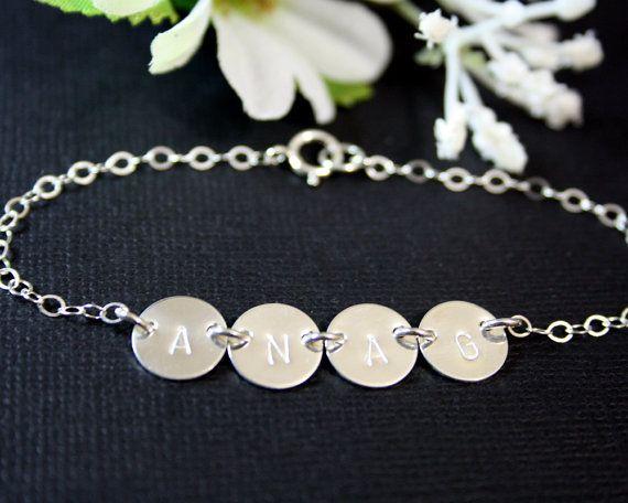 Initial bracelet FOUR discs Sterling Silver , engraved bracelet, family bracelet, birthday gift, mothers day gift, for mom daughter,