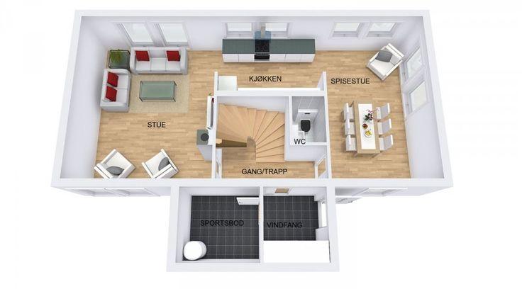 Planløsningen gir tydelig skille mellom de ulike rommene i første etasje. Kjøkkenet er innredet i en parallelform og gir godt med skapplass. Her er det også mulig å ha innredning i hele høyden langs veggen mot trappa. Vinduene over kjøkkenbenken gir godt arbeidslys. Spisestuen og stuen er romslige med plass til flere sittegrupper og tv-møbler. Dette er en bolig som byr på mange innredningsmuligheter og den fungerer godt for familier med barn i forskjellige aldersgrupper som har ulike behov.
