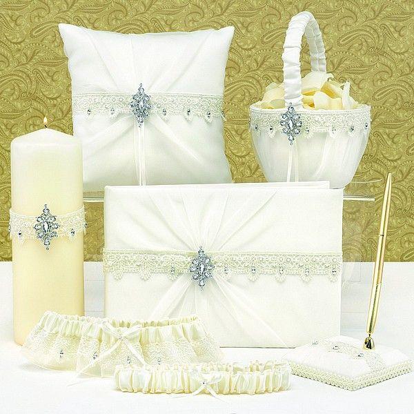 Sparkling Elegance Ivory Satin And Chiffon Wedding Accessory Set Weddingceremony Weddingreception Weddingcollection