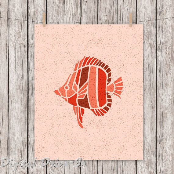 Nursery Printable Art Angelfish Stencil Style by DigitalDriveInToo