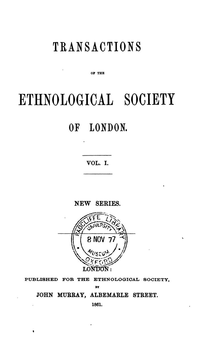 Transactions of the Ethnological Society of Lon...