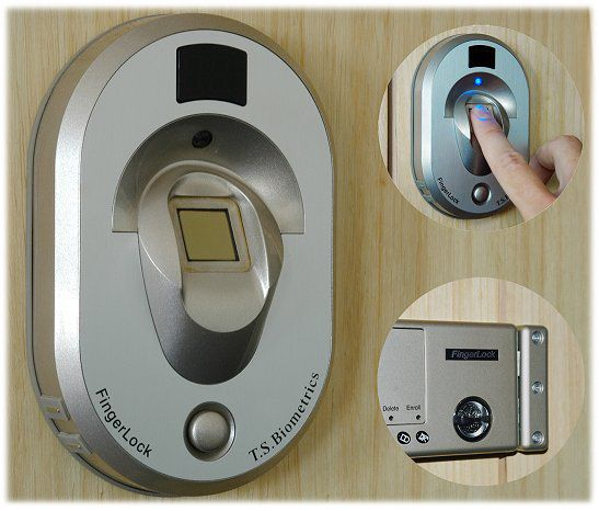 Finger Print Lock. Fingerlock 370 Biometrics Multi point lock/Double security feature: fingerlock unlocks with options and a pin code. Auto locking feature: 3 seconds after closing the door. Alarm sound: if the door is opened with force Self-diagnosis mode Power ressource from battery  and alarm for users as soon the battery is less  than 10%