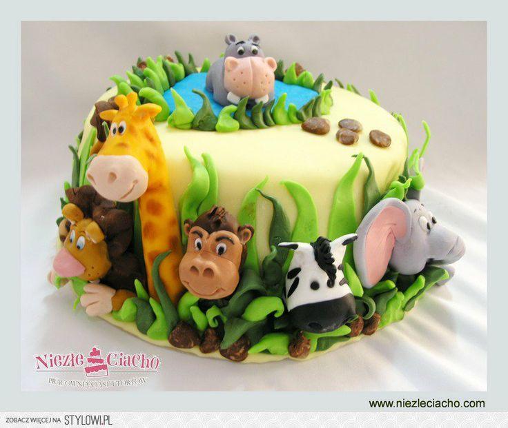 Zoo, zwierzęta, małpa, zebra, słoń, hipopotam, żyrafa, lew, zwierzątka, tort ze zwięrzętami, tort z zoo, tort na urodziny, tort urodzinowy, tort dla dziecka