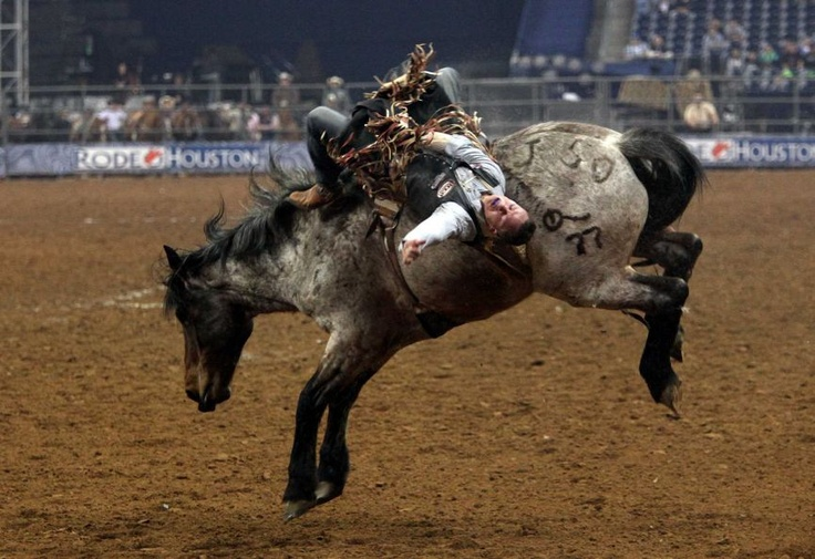 Evan Jayne competes in Bareback Riding during the BP Super Series III Round 2 at Reliant Stadium on Monday, March 4, 2013, in Houston.    Photo By Mayra Beltran/Houston Chronicle